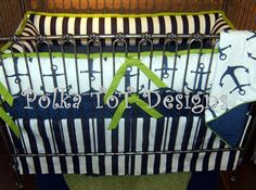 Navy, Lime & White Nautical Anchors  #Nautical #Anchors #Bedding #Baby