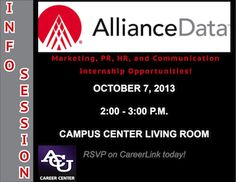 Hey Marketing, PR, HR, and Communication majors! Take a look at these internship opportunities from Alliance Data.