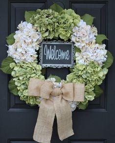 Hydrangea Wreath - Creamy White  Green 5x7 CHALKBOARD  - Burlap - Spring - Wedding Wreath - Year Round - LARGE - St Patrick's Day
