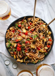 Spicy Roasted Ratatouille with Spaghetti by cookieandkate #Pasta #Ratatouille #Healthy