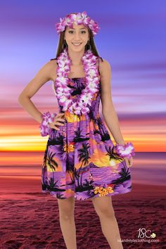 Ladies Purple Sunset Tube Dress with Lei Set! Perfect for Luau, Cruise, Beach Party or Casual wear   #luaudress #partydress #cruisedress #hawaiiandress #floraldress #islanddress #flamingodress #flamingoparty #pixiedress #zigzagdress #springbreak #cruisewear  #cruise #springbreak #honeymoon #vacation
