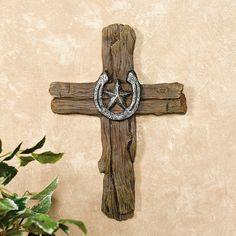 Horseshoe Farm |  Tree Bark Cross with Horseshoe & Barn Star  placed nicely on it. pinb.- TerrysVillage.com