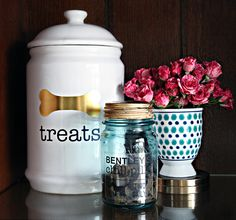 Personalize your Pet Supplies /Treat Jars with your Silhouette via IHeart Organzing