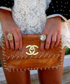 CC vintage chanel clutch handbag bag in brown with visible stitching - love love love!
