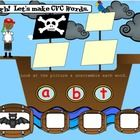 SMARTboard Pirate CVC Fun includes: 62 pages Students will  1) Look at the picture on the page 2) Unscramble the word 3) Drag and drop each letter ...