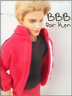 Barbie Clothes Ken Outfit Red Track Suit by BarbieBoutiqueBasics
