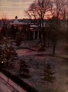Athena Yearbook, 1962. The sun rises on College Green. :: Ohio University Archives