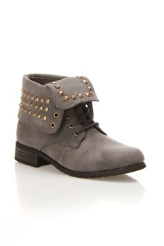 Grey Studded Boots $30
