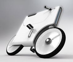 """Famous designer Yuji Fujimura - """"EBIQ,"""" Electric Bike generates power from a Lithium-ion Battery. When used as electric bike, the EBIQ sets both the pedals at a low position, which together with a handlebar folds into the body to fit in compact parking spaces. The rider also can store his or her mobile gadgets, including laptop, cellphone and etc, in the compartment to charge them on the go.An integrated screen upfront connects to your laptop."""