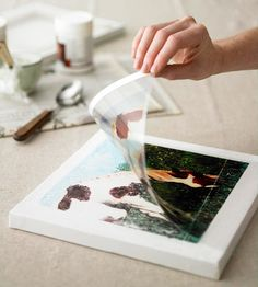 DIY Canvas art - canvas, over-head transparencies, gel-medium & boning stick
