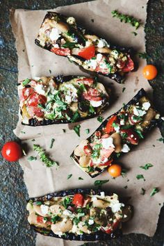 Grilled Zucchini Boats with Feta, Pesto, White Beans //