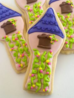 Fairy Tale/ Princess Tower Sugar Cookies 1 Dozen by acookiejar, $33.95  Tangled party favor party favors, short hair, birthday parti, tangled party, birthday cookies, decorated cookies, princess tower, princess party, parti idea