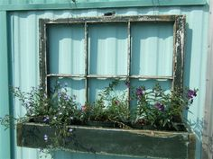 Upcycled salvaged old windows flower box
