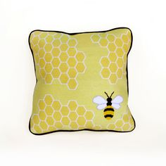 honey bee graphic modern needlepoint kit - diy modern needlepoint, bee pillow, bee graphic, bee frame pictures, graphic modern, graphics, needlepoint pillow, bumble bees, honey bees