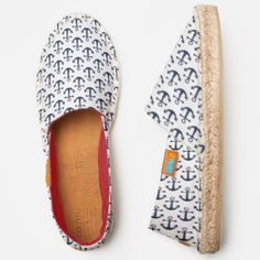 Nautical Anchor Preppy Navy Blue and White Pattern Espadrilles