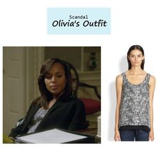 "On the blog: Olivia Pope's (Kerry Washington) abstract print silk tank | Scandal - ""The Price of Free and Fair Election"" (Ep. 318) #tvstyle #tvfashion #outfits #fashion #gladiators"