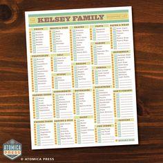 printable grociery list