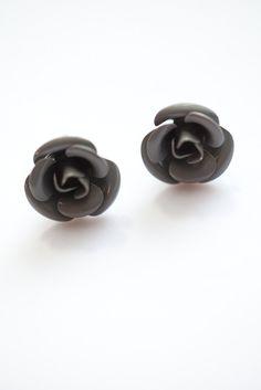 Gray Rose Flower Earrings