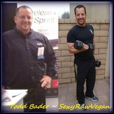 "Todd before and after form the 30 day plan ""be a Sexy Raw Vegan in 30 Days""http://sexyrawfoodandfitness.com/srv-ebooks/"