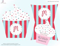 """Our new Party Package """"Baking Party Collection"""". This is a two part invitation...featuring a cupcake that slips neatly into a cupcake wrapper. So fun! Perfect for the Bakery Party Theme"""
