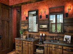Rustic bathroom... if we do a makeover, I'd like to do something like this. :)