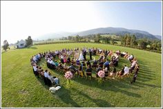 Melissa  Ray's wedding ceremony in a spiral at King Family Vineyard.  Photo by Jack Looney Photography