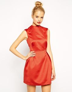 ASOS A-Line Dress in Satin with High Neck