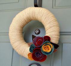Yarn Wreath Felt Handmade Door Decoration  Sea of by ItzFitz, $35.00