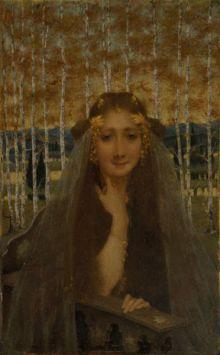 The Autumn Bride (c.1896) by Lucien Levy-Dhurmer symbolist, autumn bride, lévydhurm 18651953, lucien lévydhurm, brides, art, polar bear, lucien levydhurm, portrait