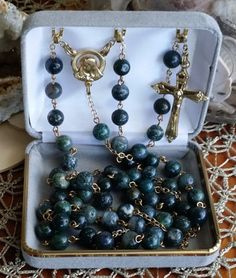 Moss Agate Our Lady of Sorrows Catholic Rosary by MimisRosaries