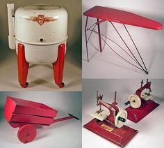 More red children's vintage toys.