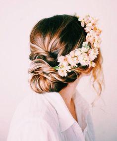 cute bun + romantic curls + flower crown
