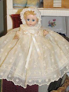 Vintage Madame Alexander Little Genius Baby Doll, Origina Lavish Lace Gown