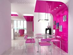 Pink dining area