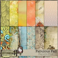 """Digital Scrapbooking Studio Fabulous Fall - Papers Plus - Here is a pack of 12 - 12"""" x 12"""", 300 dpi JPEG papers that coordinates with my FABULOUS FALL collection. These would make a great addition to any stash, but especially the Fabulous Fall packs. PU/S4H/S4O."""