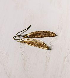 Brass Feather Dangle Earrings