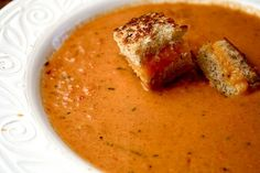 Roasted Tomato Soup with Grilled Cheese Croutons - Talk about clever! (and delicious!)
