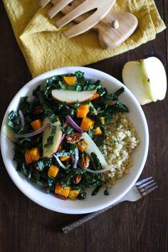 Roasted Butternut Squash Kale Salad with Orange-Sage Dressing | http://potluck.ohmyveggies.com/