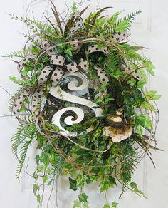 Beautiful Monogram Door Wreath for any Season by LadybugWreaths, $249.97 http://www.LadybugWreaths.com