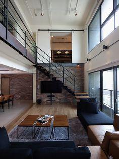 interior design, stair, living rooms, lofts, dream, interiors, brick, hous, lai resid