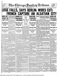 Aug. 9, 1914: Liege falls, says Berlin; wires cut. French capture an Alsatian City.