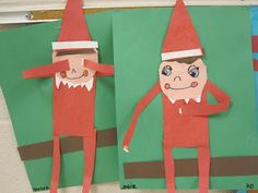 Elf on the Shelf using simple shapes and lines. Kinder.