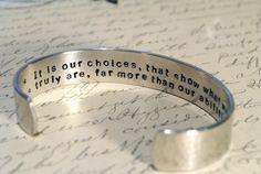 Harry Potter secret message cuff bracelet! Dumbledore quote.