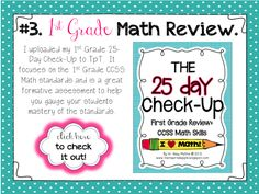 1st Grade CCSS Math Review - 25 Day Check-Up!