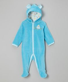 Blue Winter Owl Velour Hooded Footie by Happi by Dena (17$ 11dec2013)