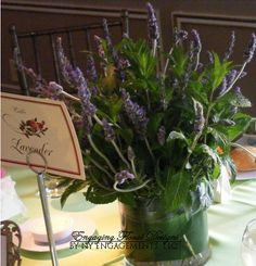 Lavender and Minte Centerpieces, how awesome is that?! Environmental, because you can pot them (instead of cutting them and putting them in water) and people can take them home and any that are left over can go in your garden or window!