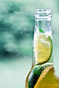 Corona with lime and salt in the summer