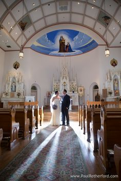 Ste Anne's Catholic Church Wedding Photo Mackinac Island by Paul Retherford and Bloom Floral Design #mackinacisland #wedding