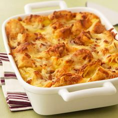 Apple Cheddar Breakfast Strata:Here's a luscious breakfast idea that you'll want to wake up to - it features pieces of sweet apple turnover baked in a savory Cheddar cheese custard.  It's as easy to make as it is good!
