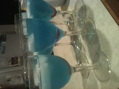 Blue signature drink w red Swedish fish